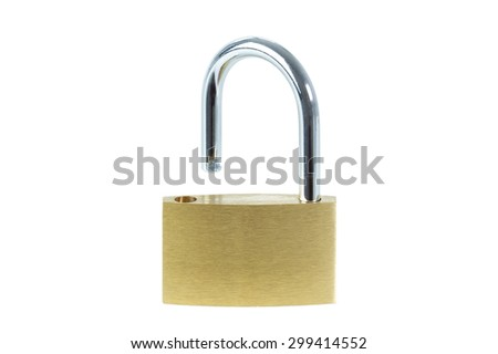 Close-up of an unlocked padlock, viewed from front, isolated on white background