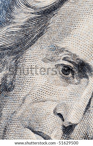Close-up of Andrew Jackson's twenty dollars portrait - stock photo