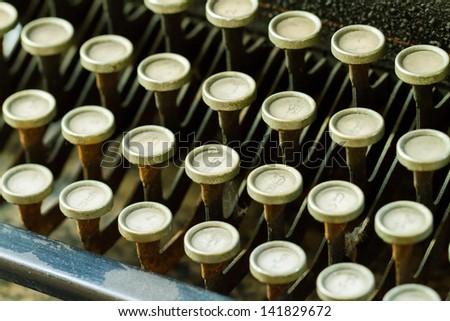 Close up of antique typewriter - stock photo