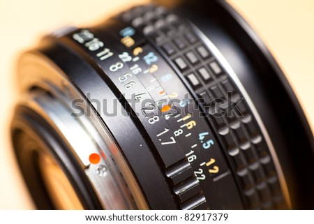Close up of aperture ring of camera lens - stock photo