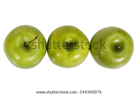 Close-up of apples in a row - stock photo