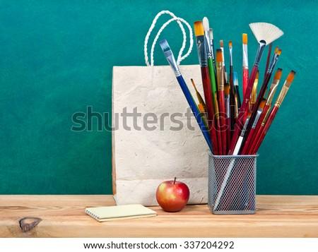Close up of art supplies. - stock photo