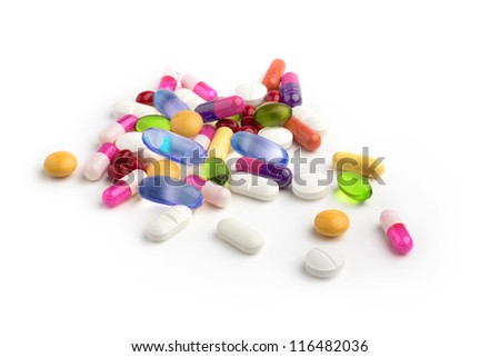 close up of assorted drugs on white background - stock photo