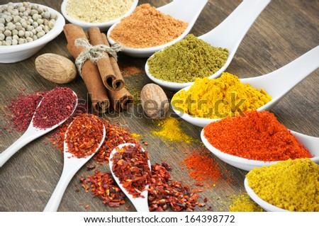 Close-up of assorted spices on wood.