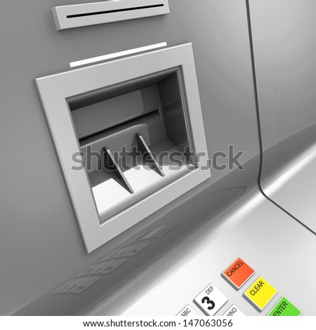 Close Up of ATM Machine - stock photo