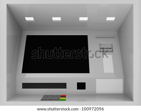 Close Up of ATM Machine In Wall - stock photo