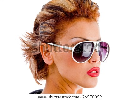 close up of attractive female wearing eyeglasses on an isolated background - stock photo