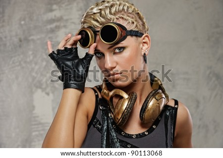 Close-up of attractive steam punk girl - stock photo