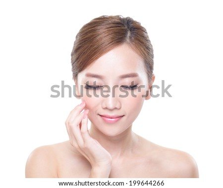 close up of attractive woman face relax closed eyes with white background, asian beauty - stock photo