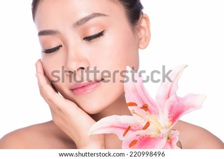 close up of attractive woman face relax closed eyes with white background, asian beauty