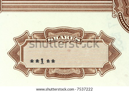 Close-up of authentic, vintage shares of an American corporation. 1 share. - stock photo