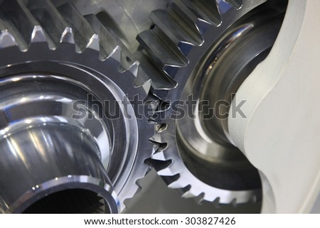 close-up of automobile engine or transmission steel gear box - stock photo