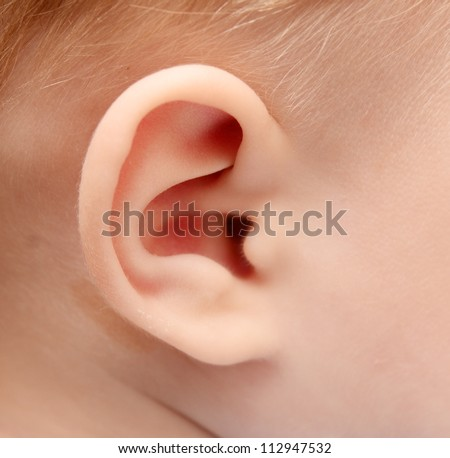 close up of baby ear - stock photo