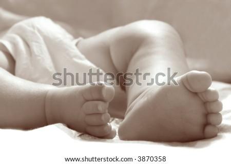 close up of baby feet, sepia - stock photo