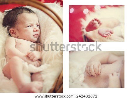 Close-up of baby's hands and feet collage. Baby's feet. collage newborn.  - stock photo