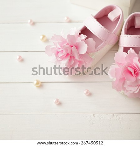 close-up of baby shoes  - stock photo
