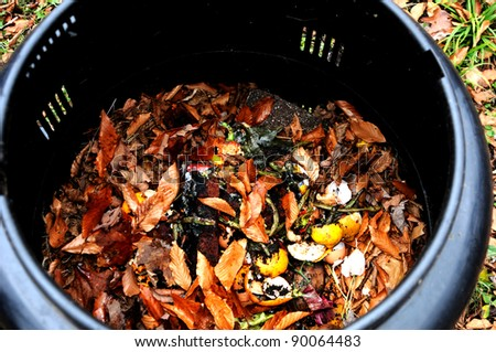 Close up of backyard composter - stock photo