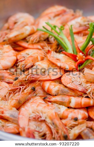 Close Up of Baked Shrimp with Salt - stock photo