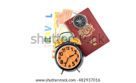 Close Up of Bank Notes With passport, clock and compass, Concept for travel