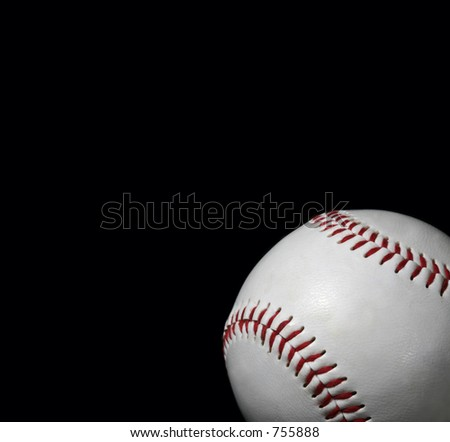 close-up of baseball on black background with copy space