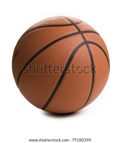 Close up of basket ball isolated on white background. - stock photo