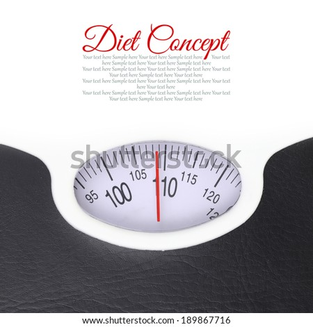 Close up of bathroom scale on white background