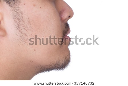 Close Up of beard and mustache man isolated on white background