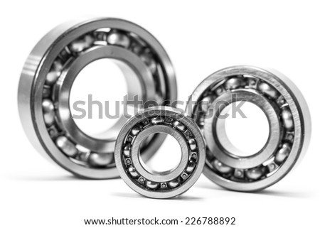 Close up of bearings isolated on white - stock photo