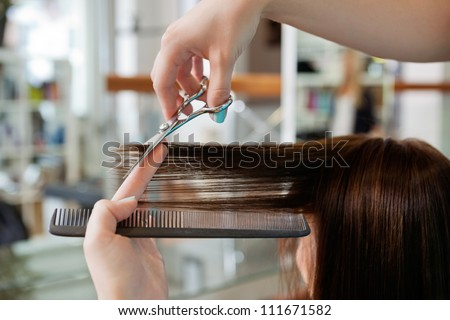Close up of beautician's hand with a comb cutting hair of woman - stock photo