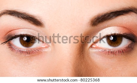 Close-up of Beautiful brown eyes of young girl - stock photo