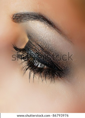 close-up of beautiful  eye - stock photo