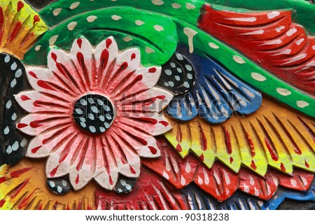 Close up of beautiful floral painting work on Indian trucks - stock photo