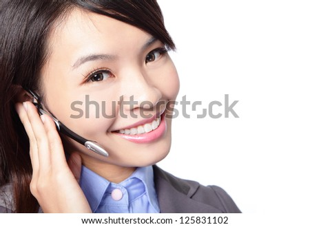 close up of beautiful woman customer support operator with headset and smiling isolated on white background, asian woman - stock photo