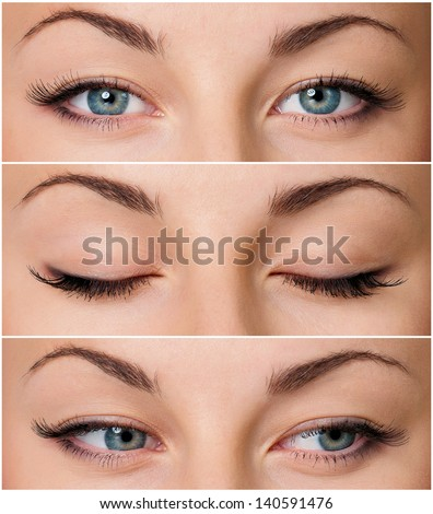 Close up of beautiful woman grey eyes - stock photo
