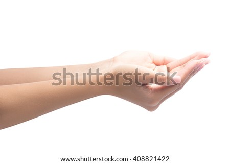 Close-up of beautiful woman hands, palms up, isolated on white with clipping path. - stock photo