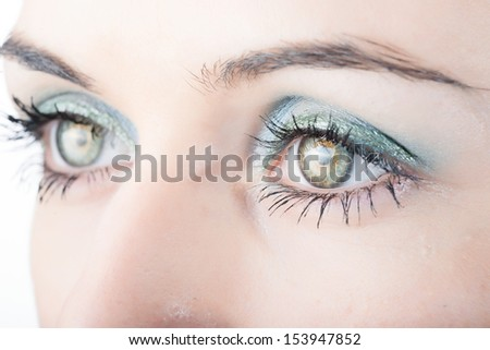 Close up of beautiful woman's eyes. - stock photo