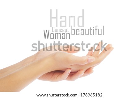 Close up of beautiful woman's hand, palm up. Isolated on white background