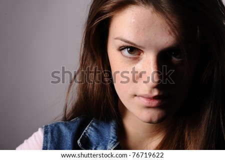 close up of beauty woman portrait, isolated on grey