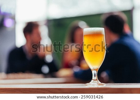 Close Up Of Beer Glass - stock photo