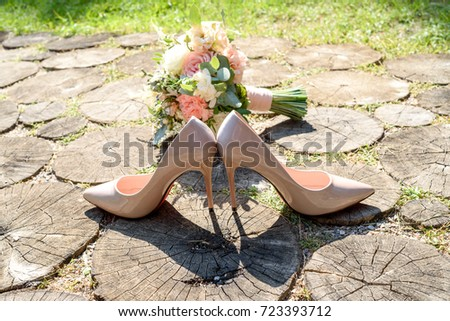 Close Beige Bride Shoes High Heels Stock Photo (Royalty Free ...