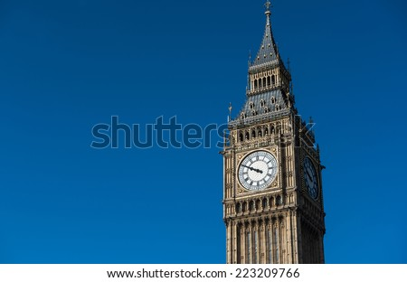 Close up of Big Ben in London, England - stock photo