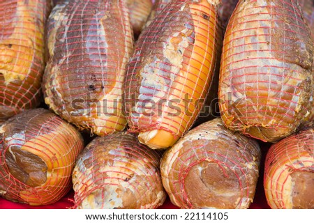 close up of big pieces of ham - stock photo
