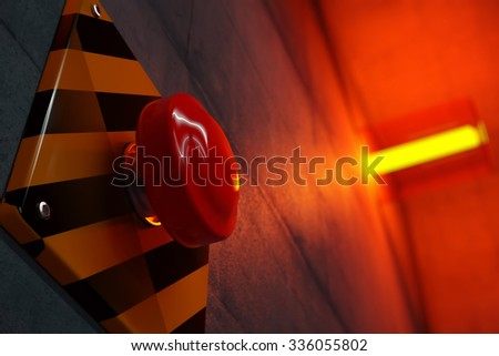 Close up of big red button during emergency situation. Red emergency light flashing in background. - stock photo