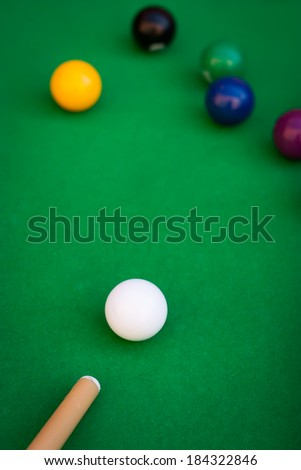 Close-up of billiard or pool game situation - stock photo