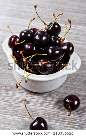 Close up of black cherries - stock photo