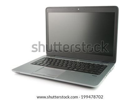 Close up of black laptop over white background - stock photo