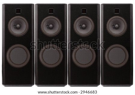 Close up of black loud speakers. Isolated over white