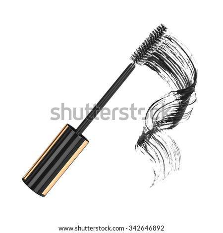 close up of black mascara on white background - stock photo