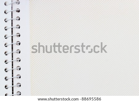 close up of blank note book