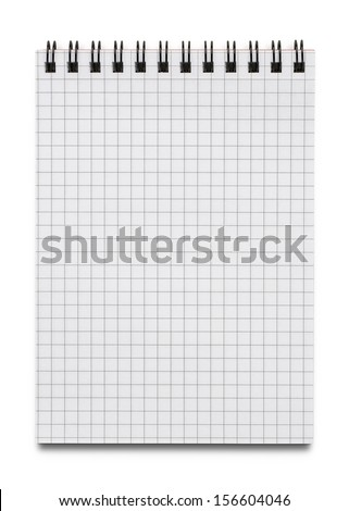 Close up of blank notebook, notepad isolated on white background with copy space - stock photo